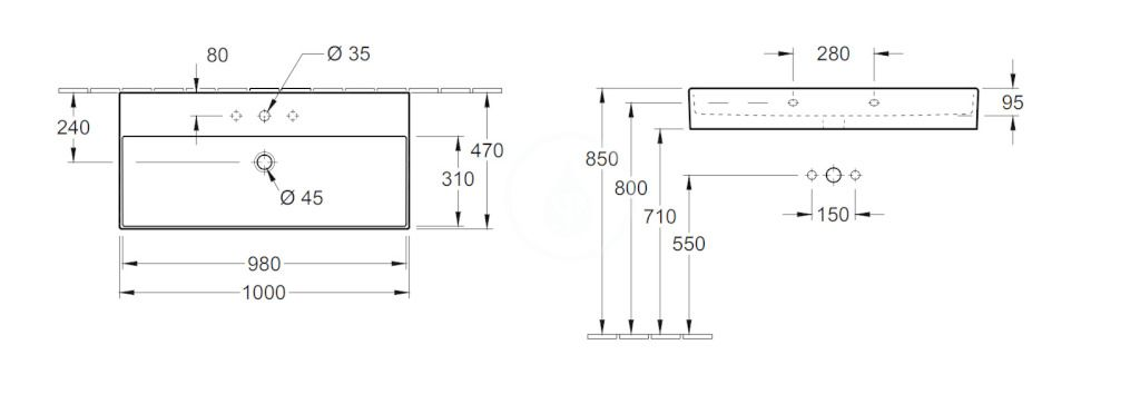VILLEROY & BOCH - Memento 2.0 Umývadlo 1000x470 mm, bez prepadu, otvor na batériu, alpská biela (4A22A201)