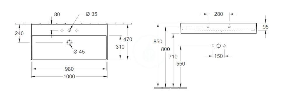 VILLEROY & BOCH - Memento 2.0 Umývadlo 1000x470 mm, bez prepadu, otvor na batériu, CeramicPlus, Glossy Black (4A22A2S0)
