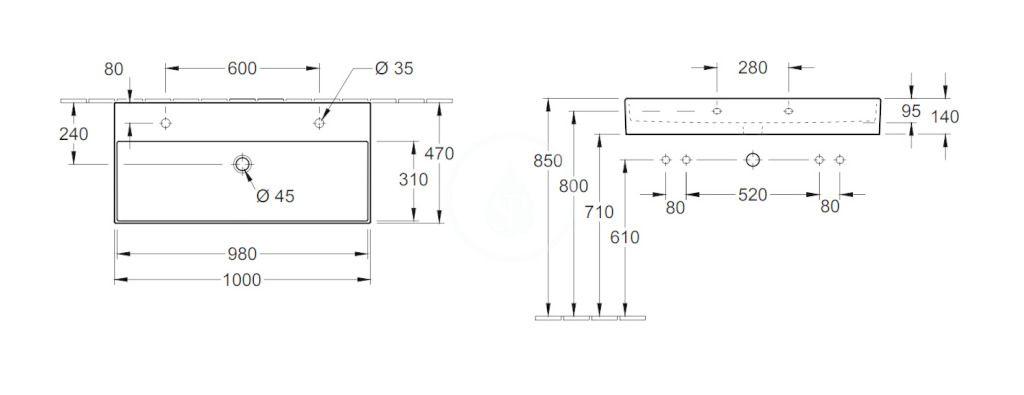 VILLEROY & BOCH - Memento 2.0 Dvojumývadlo 1000x470 mm, s prepadom, 2 otvory na batériu, CeramicPlus, Glossy Black (4A22A4S0)
