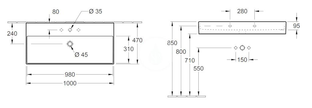VILLEROY & BOCH - Memento 2.0 Umývadlo 1000x470 mm, s prepadom, otvor na batériu, alpská biela (4A22A501)