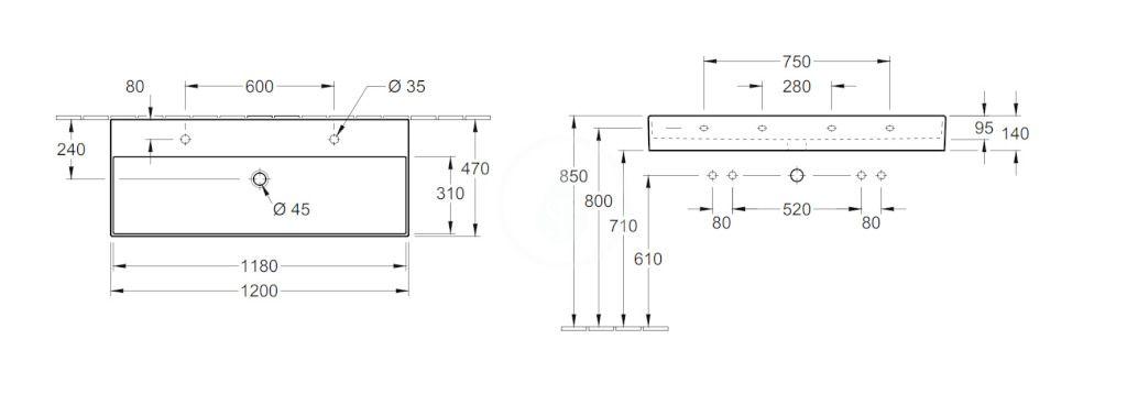 VILLEROY & BOCH - Memento 2.0 Dvojumývadlo 1200x470 mm, bez prepadu, 2 otvory na batériu, CeramicPlus, Glossy Black (4A22C1S0)