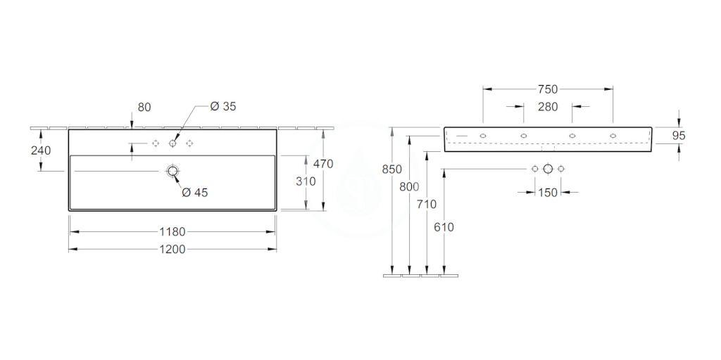 VILLEROY & BOCH - Memento 2.0 Umývadlo 1200x470 mm, bez prepadu, otvor na batériu, CeramicPlus, Glossy Black (4A22C2S0)