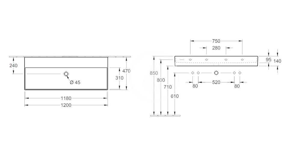 VILLEROY & BOCH - Memento 2.0 Umývadlo 1200x470 mm, bez prepadu, bez otvoru na batériu, alpská biela (4A22C301)