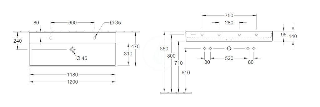 VILLEROY & BOCH - Memento 2.0 Dvojumývadlo 1200x470 mm, s prepadom, 2 otvory na batériu, CeramicPlus, alpská biela (4A22C4R1)