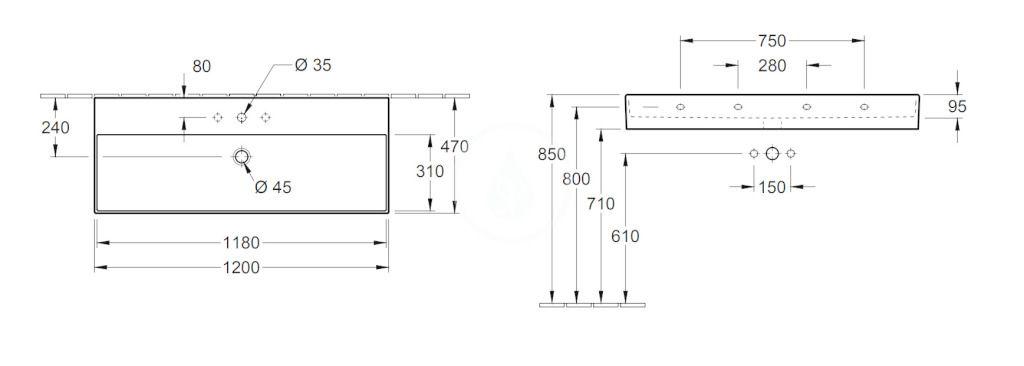 VILLEROY & BOCH - Memento 2.0 Umývadlo 1200x470 mm, s prepadom, otvor na batériu, alpská biela (4A22C501)
