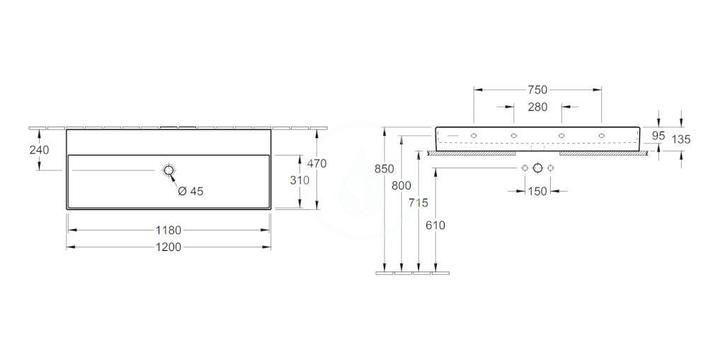VILLEROY & BOCH - Memento 2.0 Umývadlo nábytkové 1200x470 mm, bez prepadu, bez otvoru na batériu, alpská biela (4A22CF01)