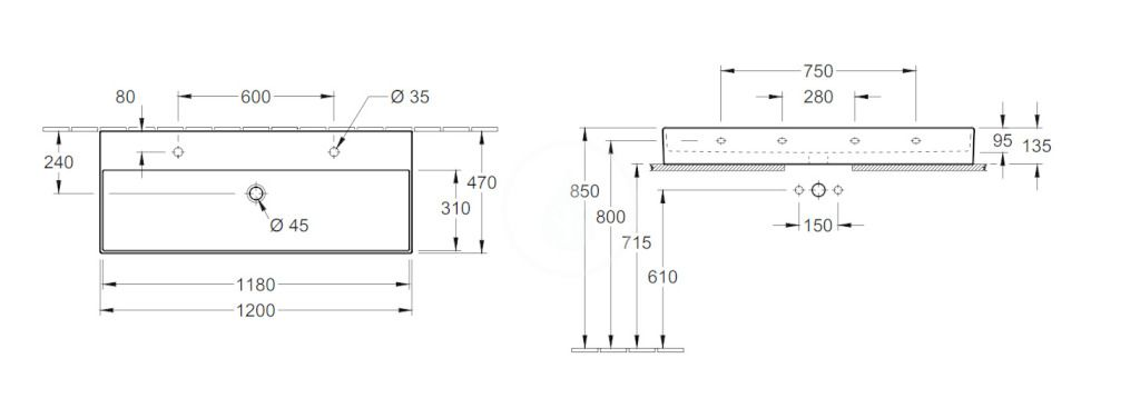 VILLEROY & BOCH - Memento 2.0 Dvojumývadlo nábytkové 1200x470 mm, bez prepadu, 2 otvory na batériu, alpská biela (4A22CG01)