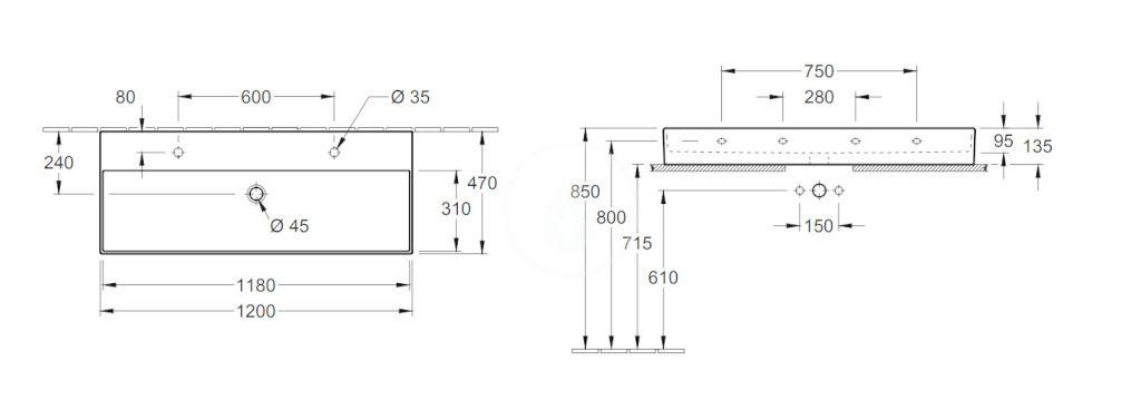 VILLEROY & BOCH - Memento 2.0 Dvojumývadlo nábytkové 1200x470 mm, s prepadom, 2 otvory na batériu, CeramicPlus, Glossy Black (4A22CKS0)