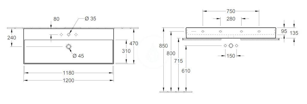 VILLEROY & BOCH - Memento 2.0 Umývadlo nábytkové 1200x470 mm, s prepadom, otvor na batériu, CeramicPlus, Glossy Black (4A22CLS0)