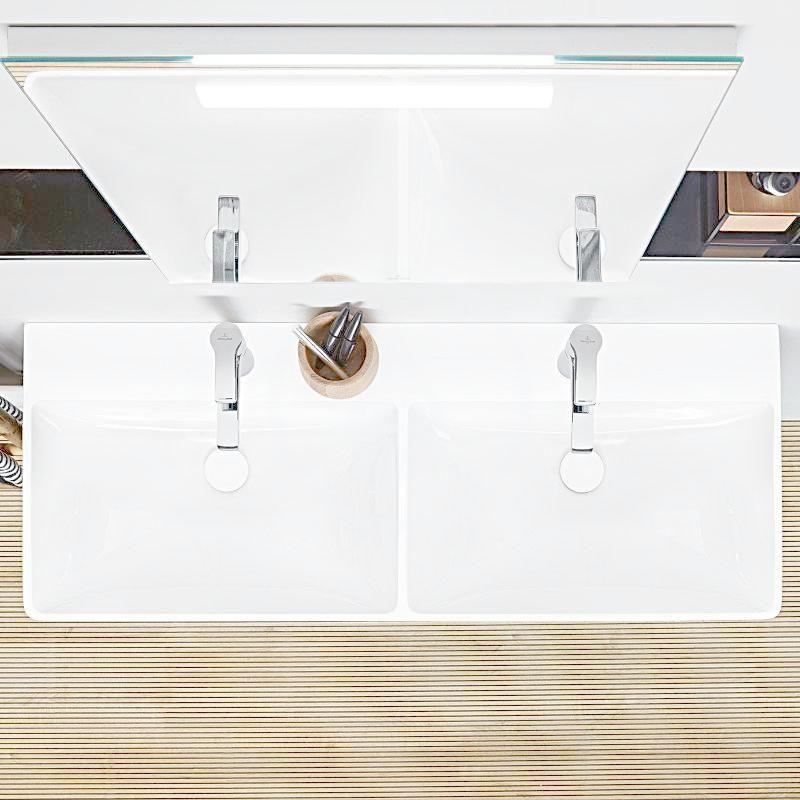 VILLEROY & BOCH - Avento Dvojumývadlo nábytkové 1200x470 mm, s prepadom, 2 otvory na batériu, alpská biela (4A23CK01)