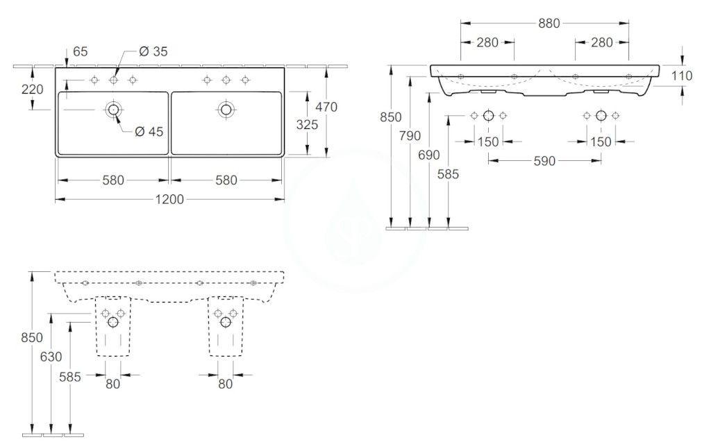 VILLEROY & BOCH - Avento Dvojumývadlo nábytkové 1200x470 mm, s prepadom, 2 otvory na batériu, CeramicPlus, alpská biela (4A23CKR1)
