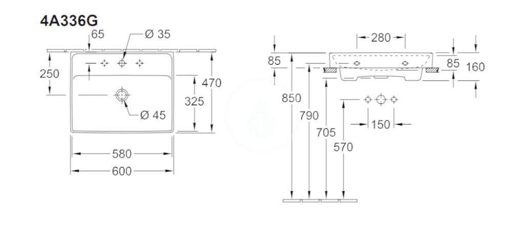 VILLEROY & BOCH - Collaro Umývadlo nábytkové 600x470 mm, s prepadom, otvor na batériu, alpská biela (4A336G01)