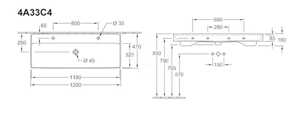 VILLEROY & BOCH - Collaro Umývadlo nábytkové 1200x470 mm, s prepadom, 2 otvory na batériu, CeramicPlus, Stone White (4A33C4RW)