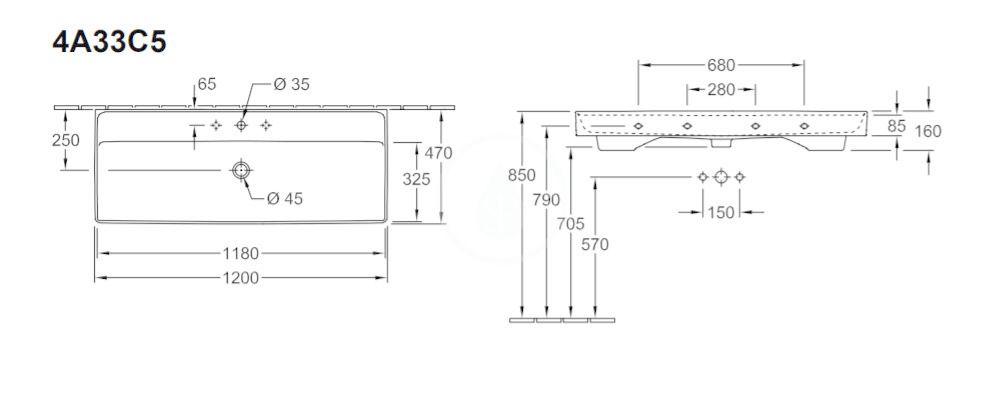 VILLEROY & BOCH - Collaro Umývadlo nábytkové 1200x470 mm, s prepadom, otvor na batériu, alpská biela (4A33C501)