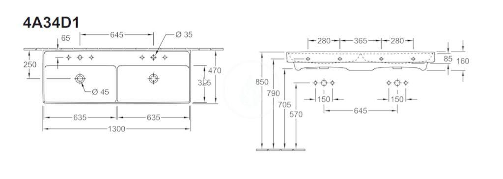 VILLEROY & BOCH - Collaro Dvojumývadlo nábytkové 1300x470 mm, bez prepadu, otvor na batériu, CeramicPlus, Stone White (4A34D1RW)