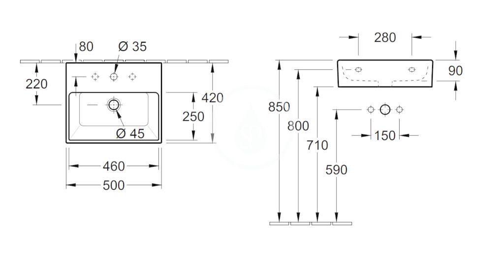 VILLEROY & BOCH - Memento Umývadlo 500x420 mm, s prepadom, otvor na batériu, CeramicPlus, Star White (513350R2)