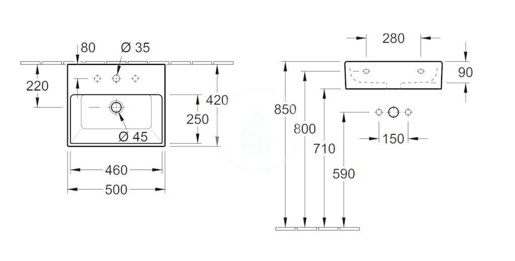 VILLEROY & BOCH - Memento Umývadlo 500x420 mm, bez prepadu, otvor na batériu, CeramicPlus, Glossy Black (513351S0)