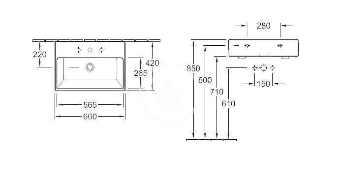 VILLEROY & BOCH - Memento Umývadlo 600x420 mm, s prepadom, otvor na batériu, CeramicPlus, Star White (513360R2)