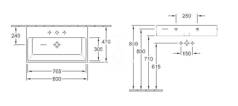 VILLEROY & BOCH - Memento Umývadlo 800x470 mm, bez prepadu, otvor na batériu, CeramicPlus, Glossy Black (513381S0)