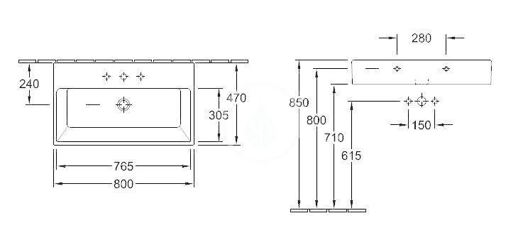 VILLEROY & BOCH - Memento Umývadlo 800x470 mm, bez prepadu, otvor na batériu, CeramicPlus, Star White (51338GR2)