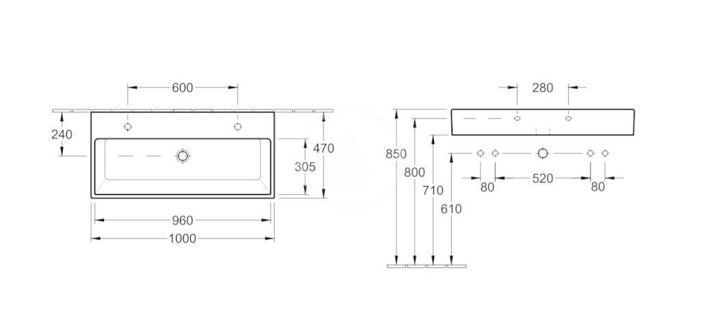 VILLEROY & BOCH - Memento Dvojumývadlo 1000x470 mm, bez prepadu, 2 otvory na batériu, CeramicPlus, Star White (5133A1R2)