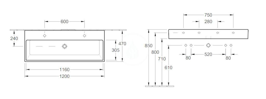 VILLEROY & BOCH - Memento Dvojumývadlo 1200x470 mm, bez prepadu, 2 otvory na batériu, CeramicPlus, Glossy Black (5133C1S0)