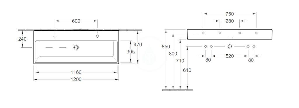 VILLEROY & BOCH - Memento Dvojumývadlo 1200x470 mm, bez prepadu, 2 otvory na batériu, CeramicPlus, Star White (5133CGR2)