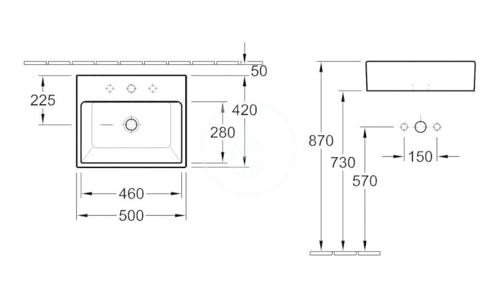 VILLEROY & BOCH - Memento Umývadlo na dosku, 500x420 mm, bez prepadu, otvor na batériu, CeramicPlus, Star White (513551R2)