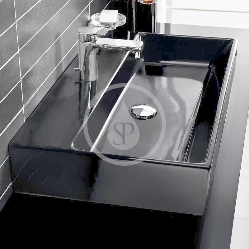 VILLEROY & BOCH - Memento Umývadlo na dosku, 500x420 mm, bez prepadu, otvor na batériu, CeramicPlus, Glossy Black (513551S0)