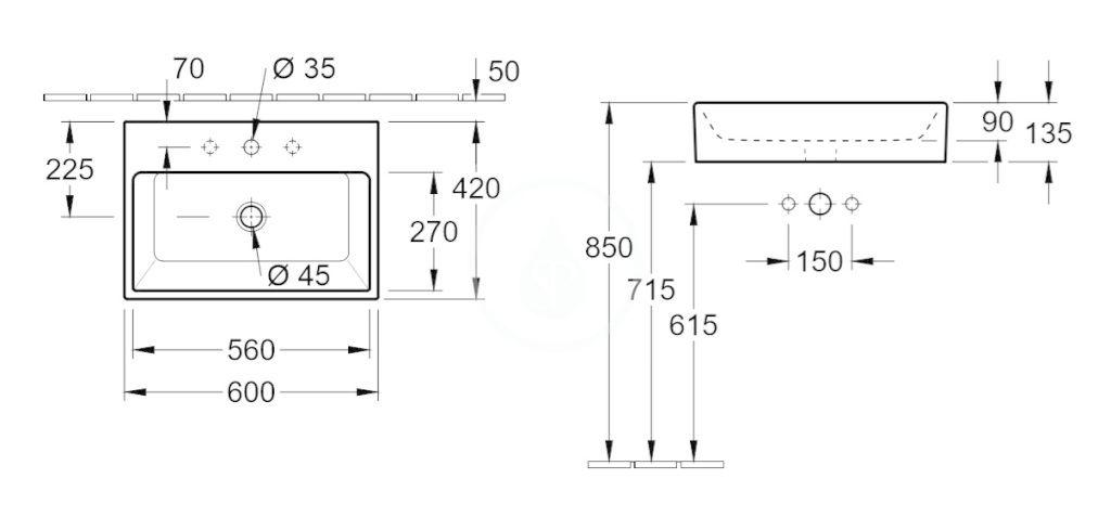 VILLEROY & BOCH - Memento Umývadlo na dosku, 600x420 mm, s prepadom, otvor na batériu, CeramicPlus, Glossy Black (513560S0)