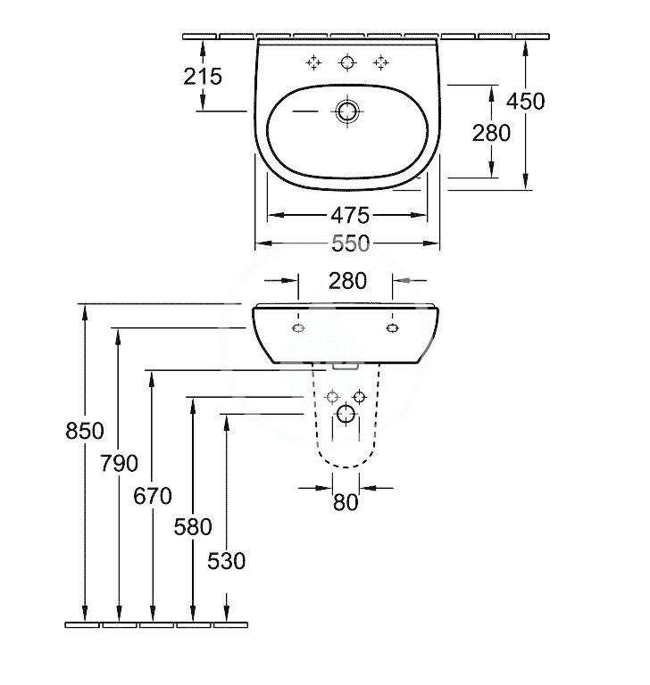 VILLEROY & BOCH - O.novo Umývadlo 550x450 mm, bez prepadu, otvor na batériu, AntiBac, alpská biela (516056T1)