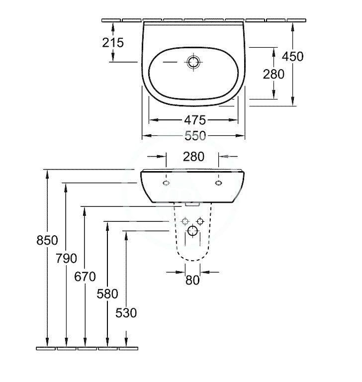 VILLEROY & BOCH - O.novo Umývadlo 550x450 mm, s prepadom, bez otvoru na batériu, AntiBac, alpská biela (516057T1)
