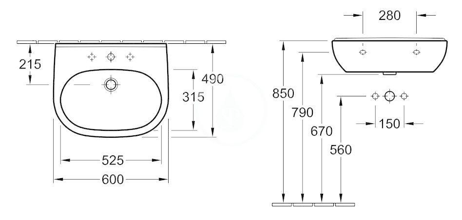VILLEROY & BOCH - O.novo Umývadlo 600x490 mm, bez prepadu, otvor na batériu, AntiBac, alpská biela (516061T1)