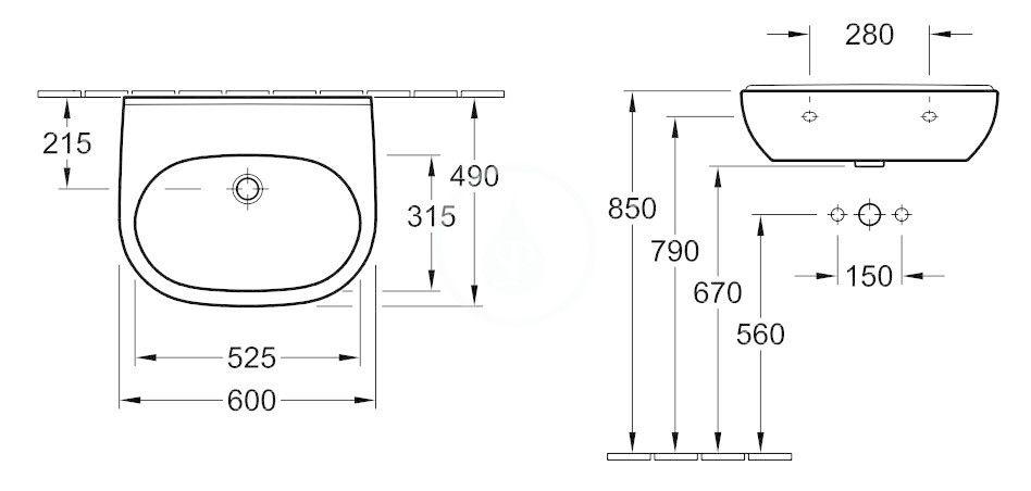 VILLEROY & BOCH - O.novo Umývadlo 600x490 mm, s prepadom, bez otvoru na batériu, AntiBac, alpská biela (516062T1)