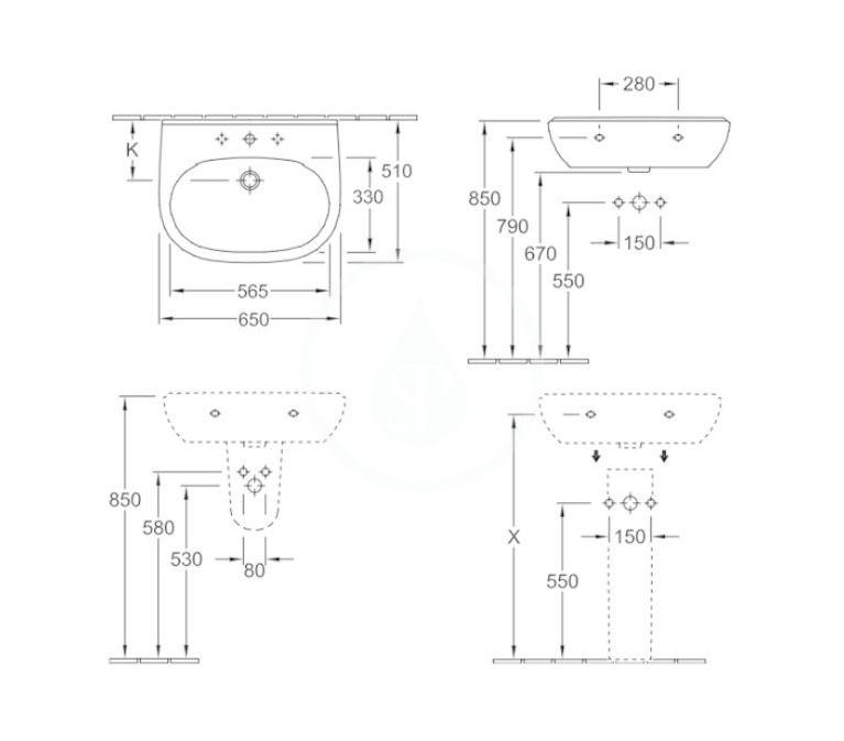 VILLEROY & BOCH - O.novo Umývadlo 650x510 mm, s prepadom, otvoru na batériu, AntiBac, alpská biela (516065T1)