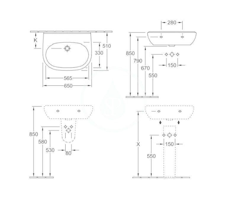 VILLEROY & BOCH - O.novo Umývadlo 650x510 mm, bez prepadu, bez otvoru na batériu, AntiBac, alpská biela (516068T1)