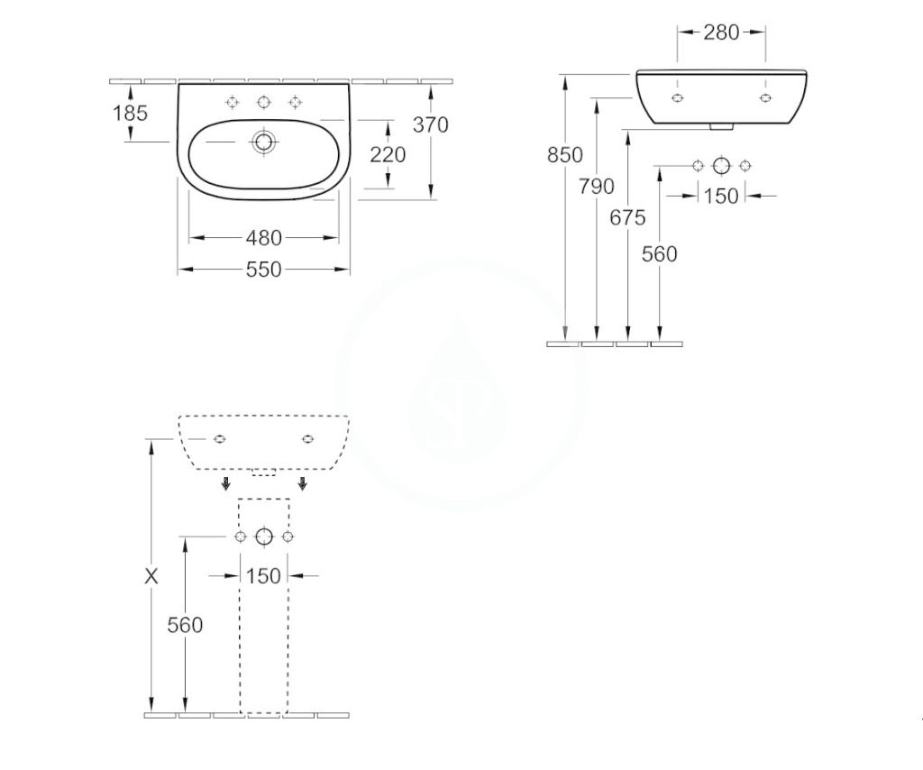 VILLEROY & BOCH - O.novo Umývadlo Compact 550x370 mm, bez prepadu, otvor na batériu, AntiBac, alpská biela (516656T1)