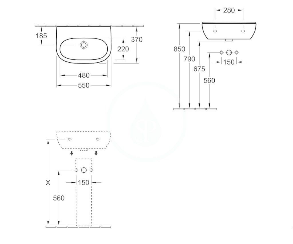 VILLEROY & BOCH - O.novo Umývadlo Compact 550x370 mm, s prepadom, bez otvoru na batériu, AntiBac, alpská biela (516657T1)