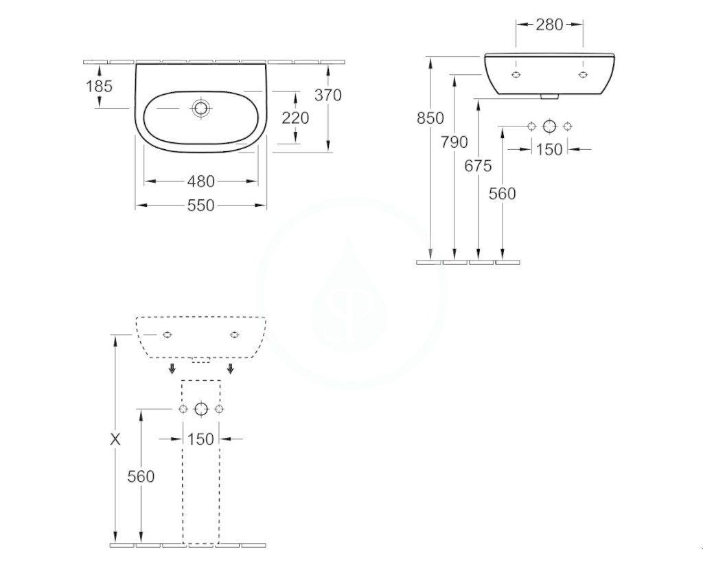 VILLEROY & BOCH - O.novo Umývadlo Compact 550x370 mm, bez prepadu, bez otvoru na batériu, AntiBac, alpská biela (516658T1)