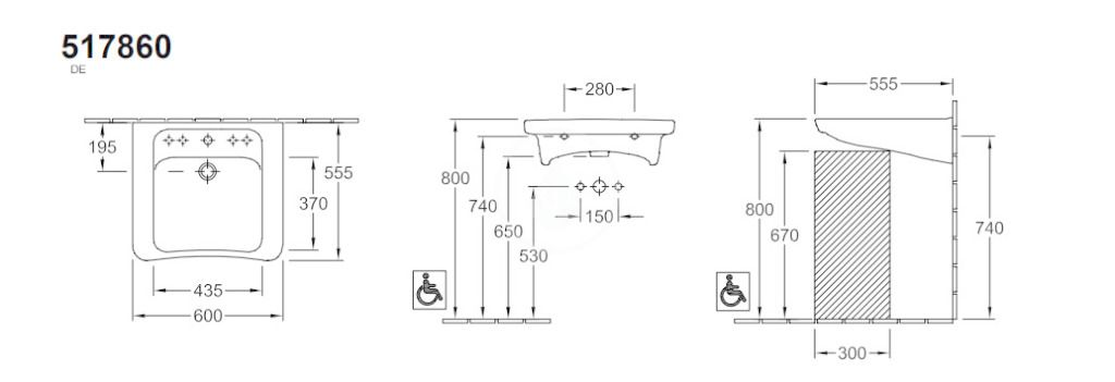 VILLEROY & BOCH - Architectura Umývadlo Vita 600x555 mm, s prepadom, otvor na batériu, AntiBac, alpská biela (517860T1)