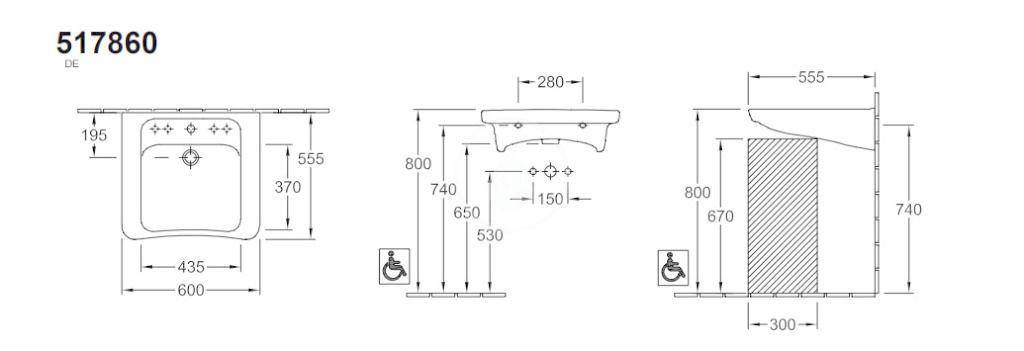 VILLEROY & BOCH - Architectura Umývadlo Vita 600x555 mm, s prepadom, otvor na batériu, AntiBac, CeramicPlus, alpská biela (517860T2)