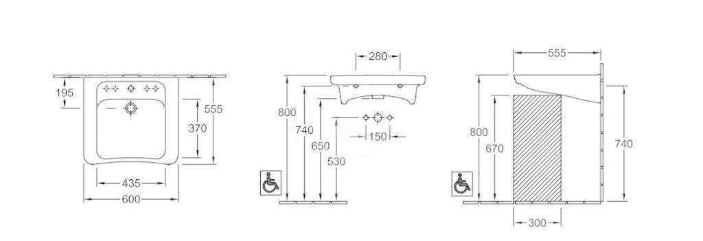 VILLEROY & BOCH - Architectura Umývadlo Vita 600x555 mm, bez prepadu, otvor na batériu, AntiBac, alpská biela (517861T1)