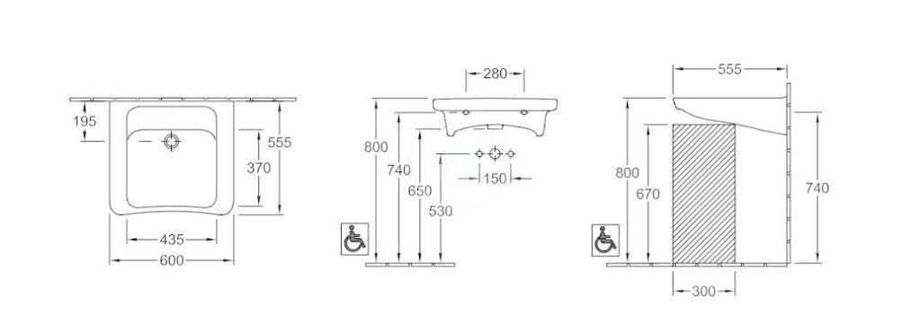 VILLEROY & BOCH - Architectura Umývadlo Vita 600x555 mm, bez prepadu, bez otvoru na batériu, AntiBac, alpská biela (517863T1)
