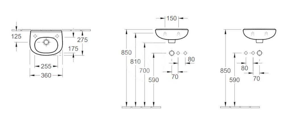VILLEROY & BOCH - O.novo Umývadielko Compact 360x275 mm, s prepadom,  bez otvoru na batériu, AntiBac, alpská biela (536036T1)