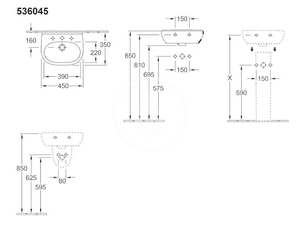 VILLEROY & BOCH - O.novo Umývadielko Compact 450x350 mm, bez prepadu, otvor na batériu, AntiBac, alpská biela (536046T1)