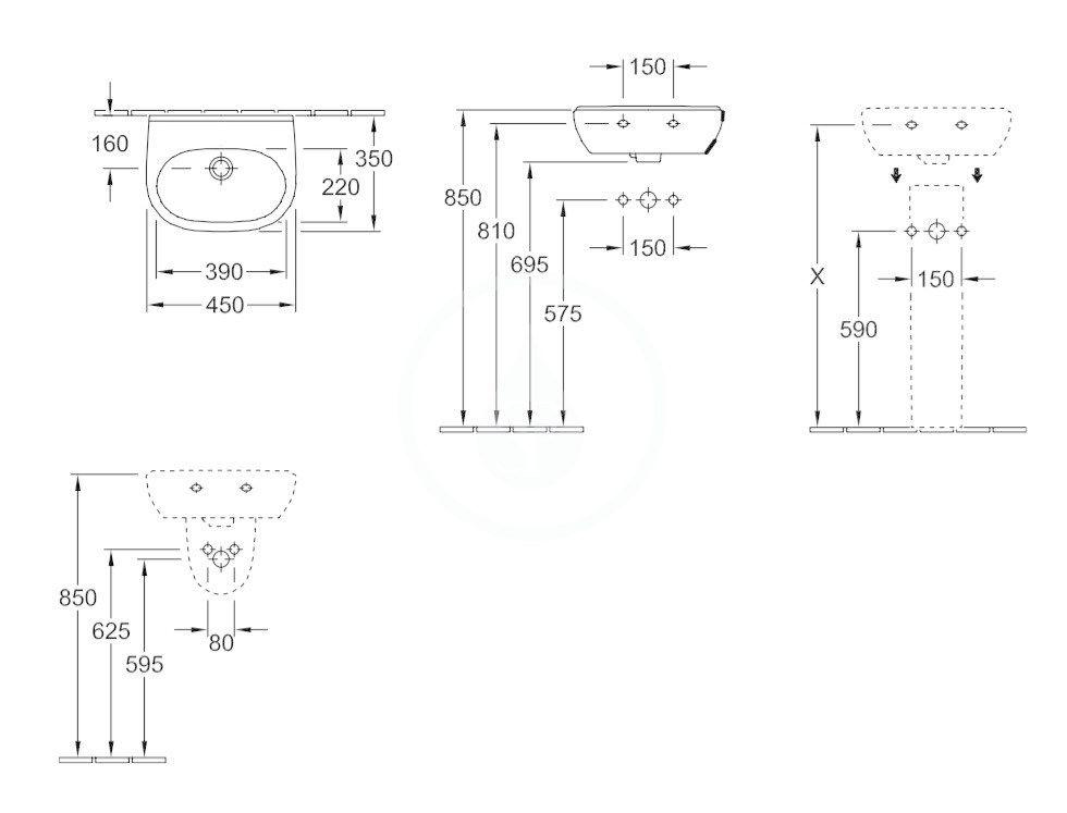 VILLEROY & BOCH - O.novo Umývadielko Compact 450x350 mm, s prepadom,  bez otvoru na batériu, AntiBac, alpská biela (536047T1)