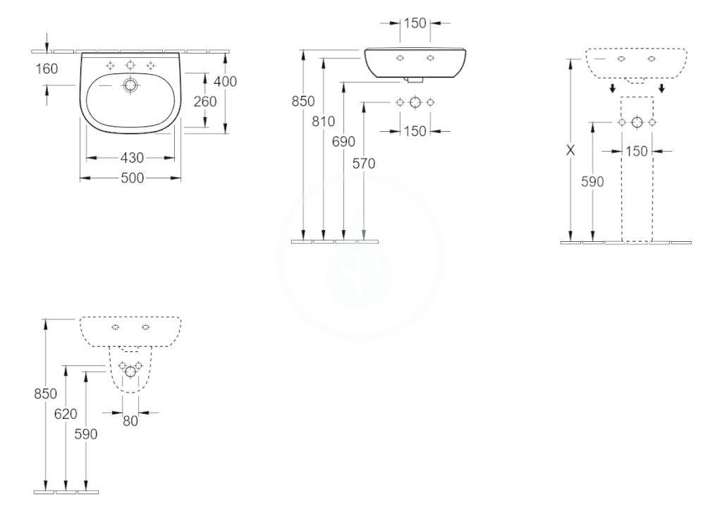 VILLEROY & BOCH - O.novo Umývadielko Compact 500x400 mm, s prepadom, otvor na batériu, AntiBac, alpská biela (536050T1)