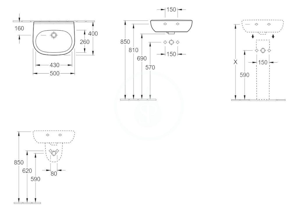 VILLEROY & BOCH - O.novo Umývadielko Compact 500x400 mm, s prepadom, bez otvoru na batériu, AntiBac, alpská biela (536052T1)