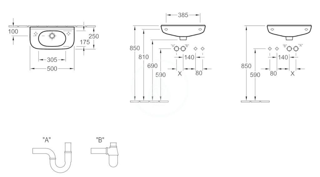 VILLEROY & BOCH - O.novo Umývadielko Compact 500x250 mm, bez prepadu, 1 otvor na batériu, AntiBac, alpská biela (536151T1)