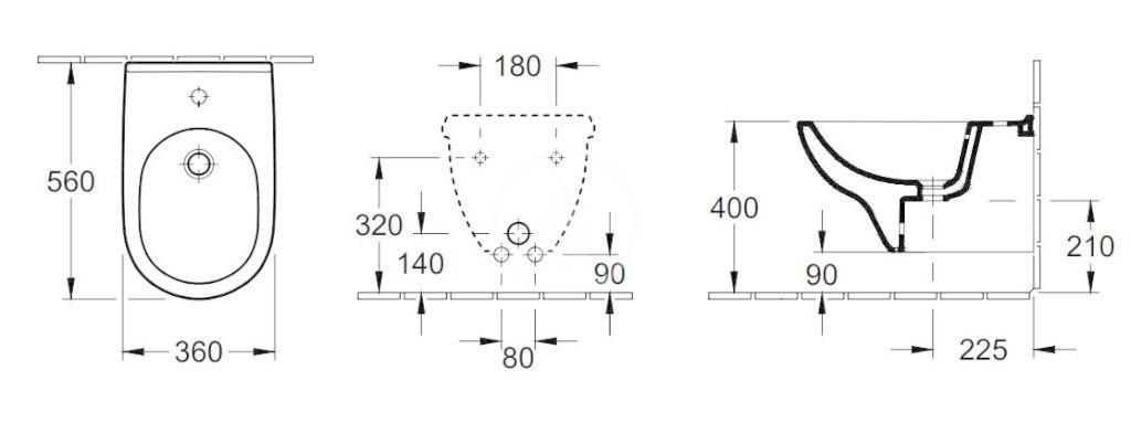 VILLEROY & BOCH - O.novo Závesný bidet 360x560 mm, 1 otvor pre batériu, AntiBac, alpská biela (546000T1)